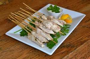 poached chicken skewers with lemon and dill aioli