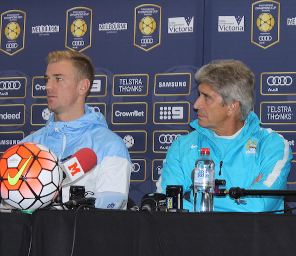 Pellegrini and captain Joe Hart address the media. Source: supplied
