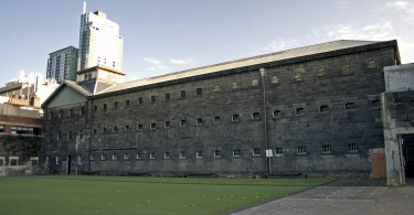The Old Melbourne Gaol's courtyard.