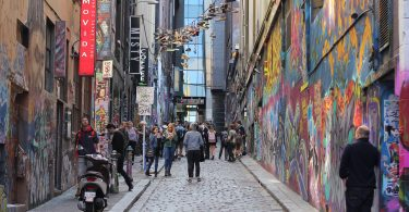 Iconic Hosier Lane in Melbourne
