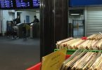 Record shop underneath Flinders Street station and barrier gates